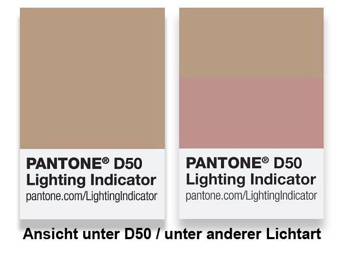 Pantone Metameriekarte D50