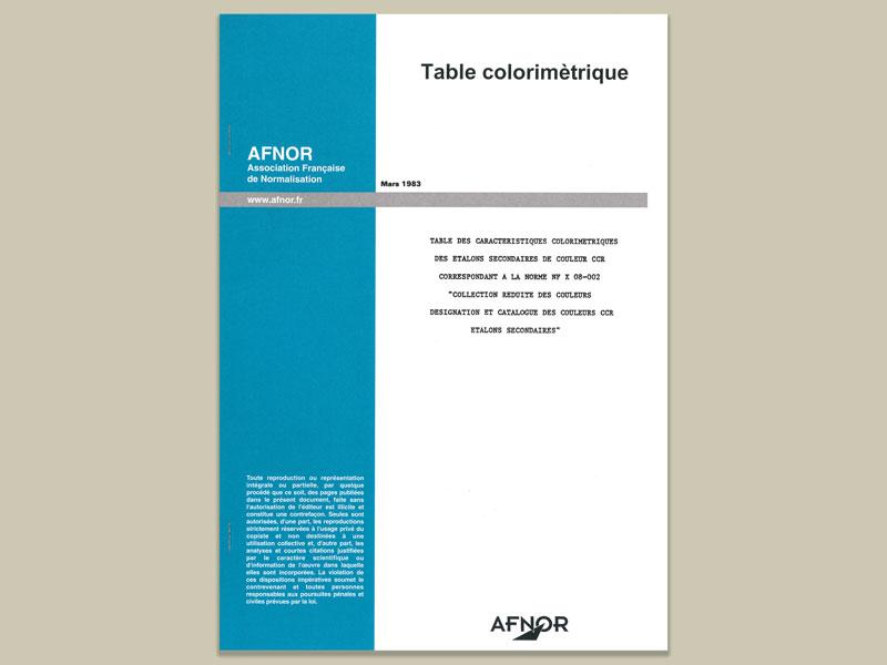 AFNOR Tabelle farbmetrische Daten